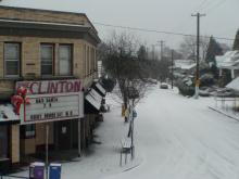clinton in the snow